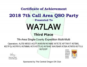 7QP18-WA7LAW - Cert of Acheivement