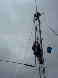 Rob (NR30) up the tower removing the old UHF antenna system.